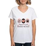 Peace Love Swedish Vallhund Women's V-Neck T-Shirt