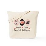 Peace Love Swedish Vallhund Tote Bag