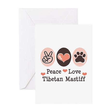 Peace Love Tibetan Mastiff Greeting Card