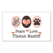 Peace Love Tibetan Mastiff Rectangle Decal