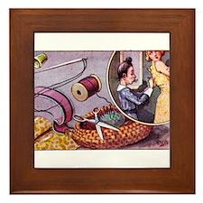 Vintage Sewing Cartoon Framed Tile