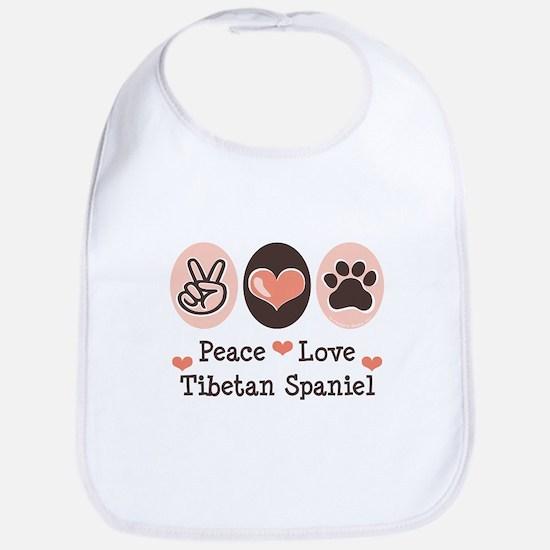 Peace Love Tibetan Spaniel Bib