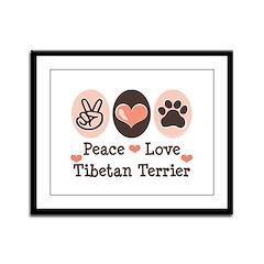 Peace Love Tibetan Terrier Framed Panel Print