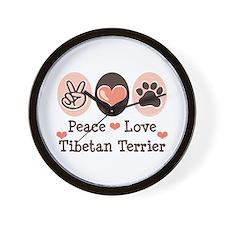 Peace Love Tibetan Terrier Wall Clock