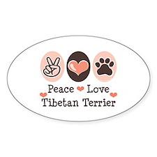 Peace Love Tibetan Terrier Oval Decal