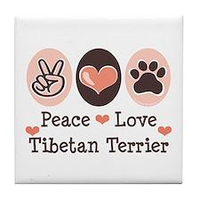 Peace Love Tibetan Terrier Tile Coaster