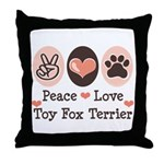 Peace Love Toy Fox Terrier Throw Pillow