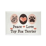 Peace Love Toy Fox Terrier Rectangle Magnet (100 p