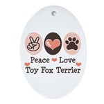 Peace Love Toy Fox Terrier Oval Ornament