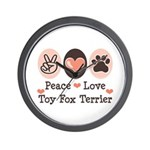 Peace Love Toy Fox Terrier Wall Clock