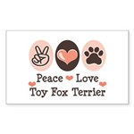 Peace Love Toy Fox Terrier Rectangle Sticker