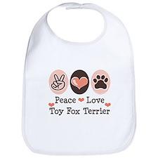 Peace Love Toy Fox Terrier Bib