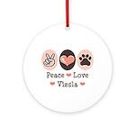 Peace Love Vizsla Ornament (Round)