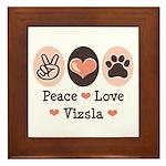 Peace Love Vizsla Framed Tile