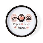 Peace Love Vizsla Wall Clock