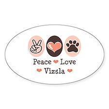 Peace Love Vizsla Oval Decal