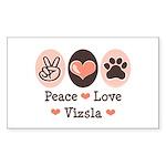 Peace Love Vizsla Rectangle Sticker