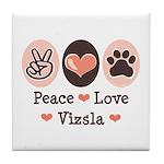 Peace Love Vizsla Tile Coaster