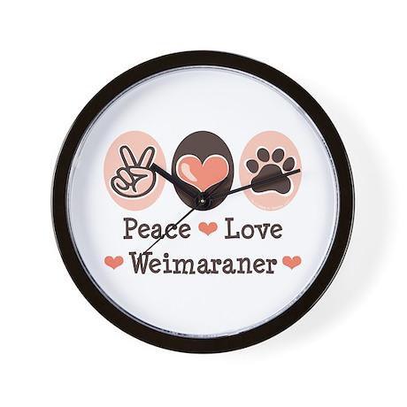 Peace Love Weimaraner Wall Clock