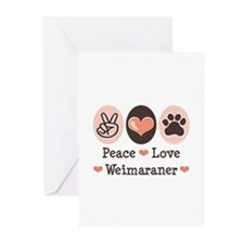 Peace Love Weimaraner Greeting Cards (Pk of 10)