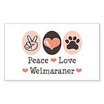 Peace Love Weimaraner Rectangle Sticker