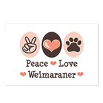Peace Love Weimaraner Postcards (Package of 8)