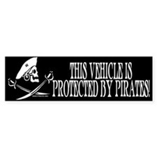 This Vehicle Protected By Pirates Bumper Bumper Sticker