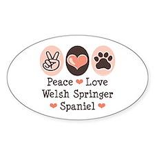 Peace Love Welsh Springer Spaniel Oval Decal