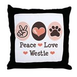 Peace Love Westie Throw Pillow