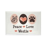 Peace Love Westie Rectangle Magnet (100 pack)