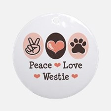 Peace Love Westie Ornament (Round)