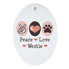 Peace Love Westie Oval Ornament