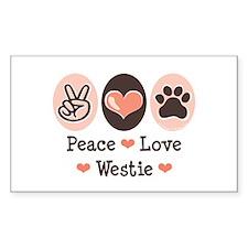Peace Love Westie Rectangle Decal