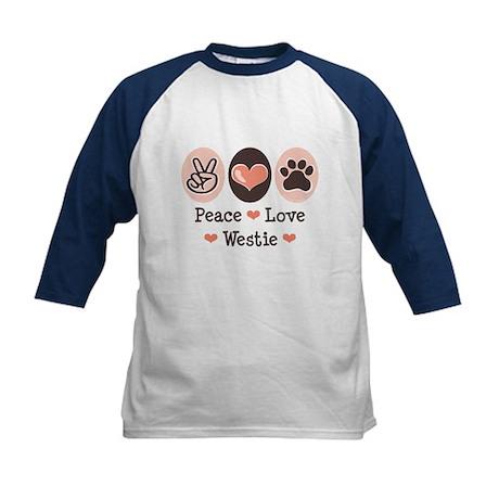 Peace Love Westie Kids Baseball Jersey