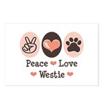 Peace Love Westie Postcards (Package of 8)
