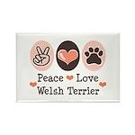 Peace Love Welsh Terrier Rectangle Magnet (10 pack