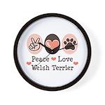Peace Love Welsh Terrier Wall Clock