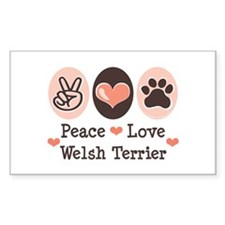 Peace Love Welsh Terrier Rectangle Decal