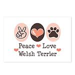Peace Love Welsh Terrier Postcards (Package of 8)