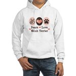 Peace Love Welsh Terrier Hooded Sweatshirt