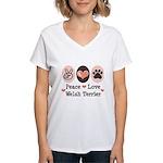 Peace Love Welsh Terrier Women's V-Neck T-Shirt