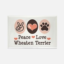 Peace Love Wheaten Terrier Rectangle Magnet (10 pa
