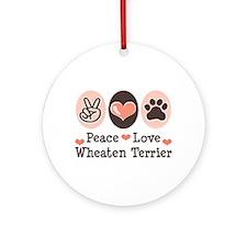 Peace Love Wheaten Terrier Ornament (Round)