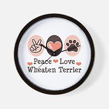 Peace Love Wheaten Terrier Wall Clock