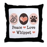 Peace Love Whippet Throw Pillow