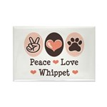 Peace Love Whippet Rectangle Magnet (100 pack)
