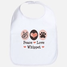 Peace Love Whippet Bib