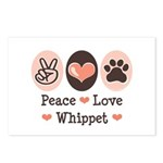 Peace Love Whippet Postcards (Package of 8)