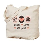 Peace Love Whippet Tote Bag