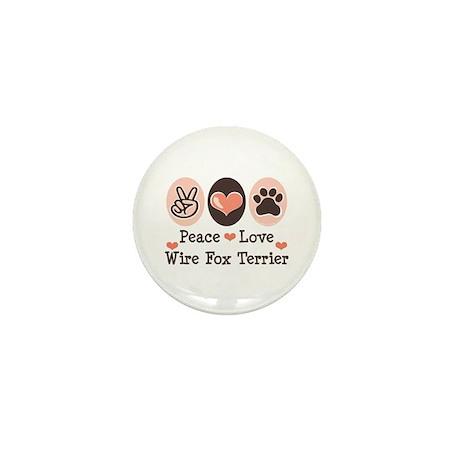 Peace Love Wire Fox Terrier Mini Button (10 pack)